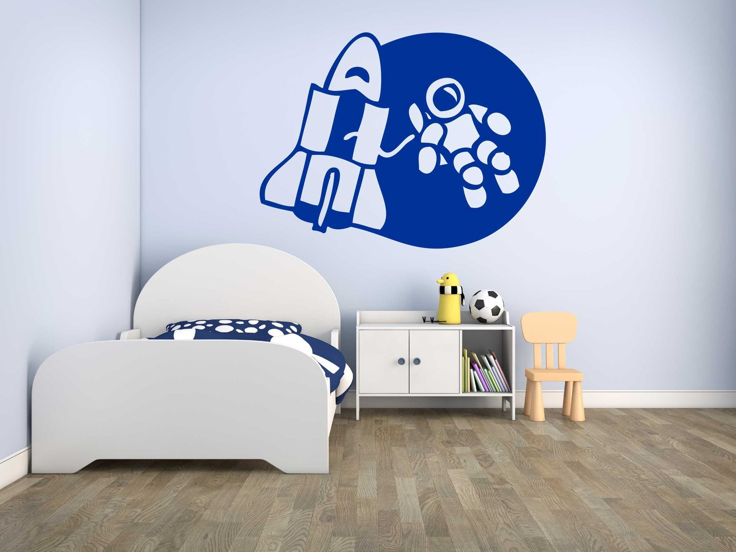 wandtattoo astronaut mit rakete. Black Bedroom Furniture Sets. Home Design Ideas