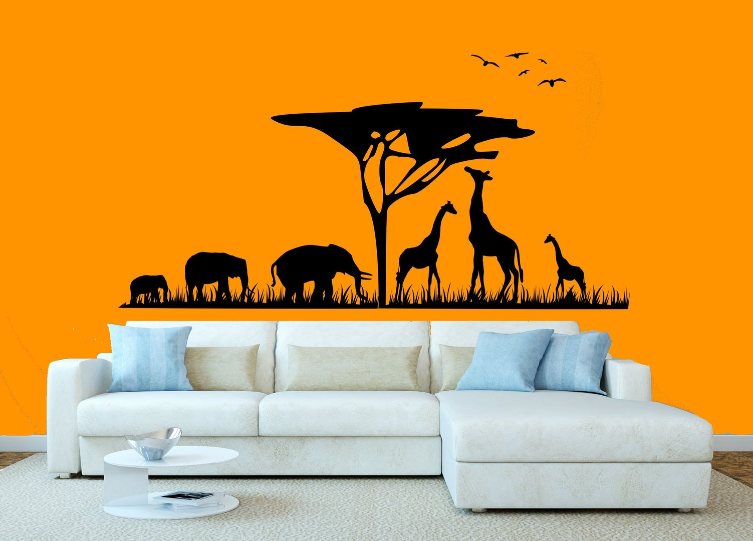 wandtattoo afrika elefanten giraffe v gel safari savanne. Black Bedroom Furniture Sets. Home Design Ideas