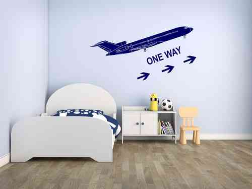 Wandtattoo - Flugzeug - one way Pfeile