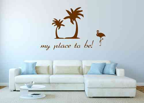 Wandtattoo - my place to be - Palmen + Flamingo